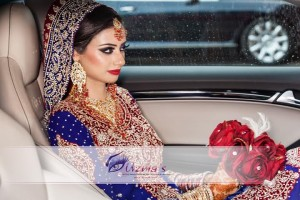 Asian Wedding Pictures.  Bride in her wedding car for Rukhsti.