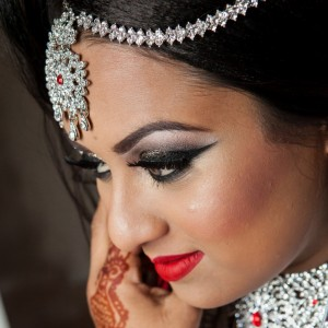 Closeup of a wedding photo shoot of a Bengali Bride in UK